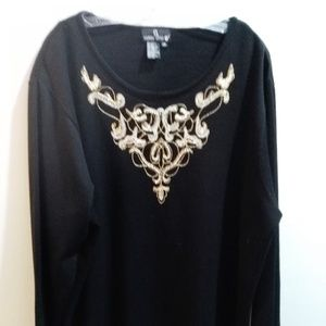 VINTAGE CAROLE LITTLE JEWELED BLACK SWEATER